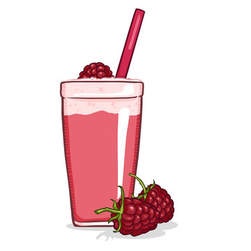 Glass of Raspberry Shake. Vector Cartoon Illustration