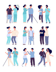 Disabled people and assistants. persons in wheelchair, men with crutches and prosthesis with nurses vector disabilities characters. Disabled and handicapped people illustration