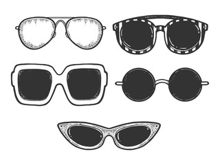 Sunglasses fashion set sketch engraving vector illustration. Scratch board style imitation. Black and white hand drawn image.