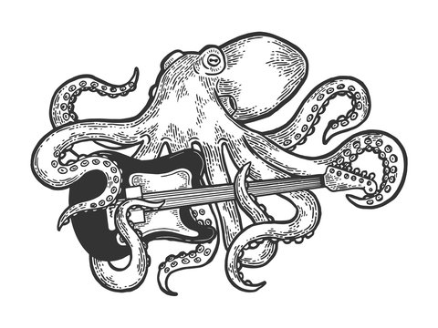 Octopus playing electric guitar sketch engraving vector illustration. Scratch board style imitation. Black and white hand drawn image.