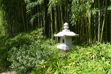 Stone Lantern by Bamboo Forest of the Fort Worth Botanic Garden
