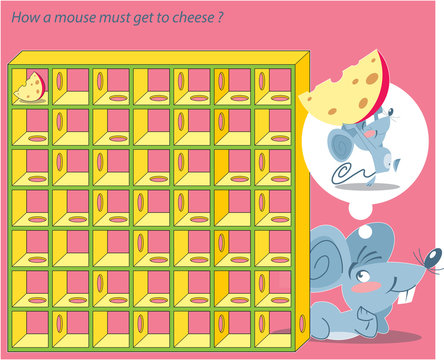 In vector illustration a puzzle in which you need to help the mouse to get to the cheese through the maze