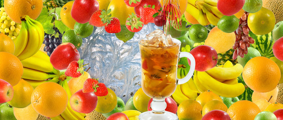 image of juice in a glass against many fruits and berries close-up