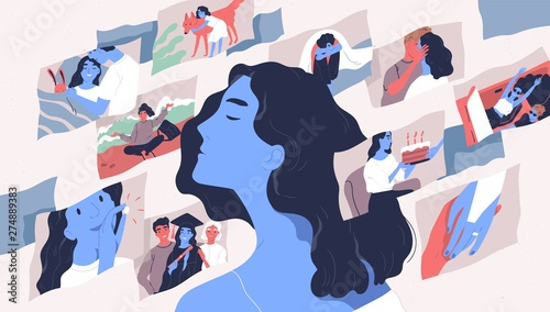 Wall mural Beautiful young woman and scenes from her life. Concept of memories and thoughts, positive and negative traumatic experience, psychological trauma. Flat cartoon colorful vector illustration.