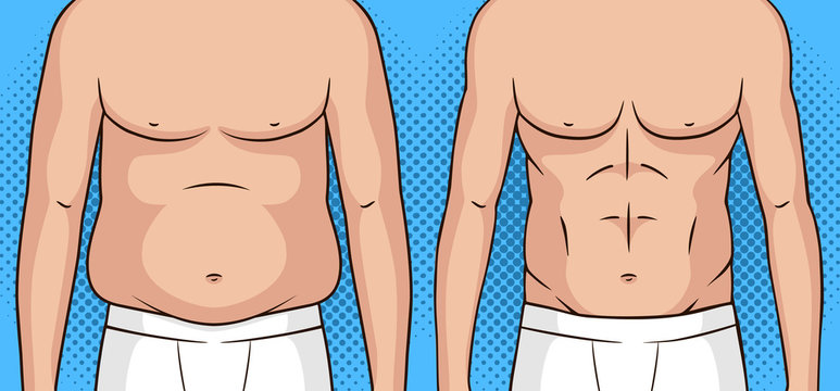 Color vector pop art style illustration of a man before and after weight loss. Flat stomach against the fat belly. Poster about healthy eating and lifestyle. Athletic male figure after weight loss