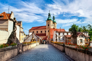 Klodzko, baroque replica of the Charles Bridge in Prague Fototapete
