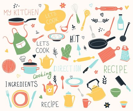 Kitchen doodle vector icon set. For modern recipe card template set for cookbook. Menu creator.