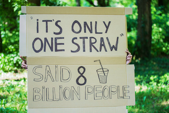 poster with slogan to save the planet with out using plastic straw