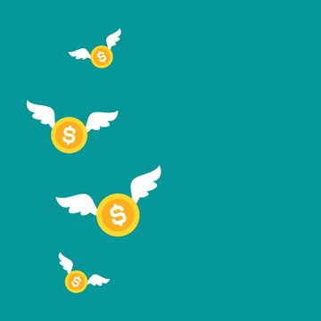 Gold dollar coins with white wings. Flat blue background. Flying money.