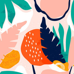 Wall Mural - Hand drawn tropical jungle leaves and various shapes. Abstract contemporary seamless pattern. Modern patchwork illustration in vector