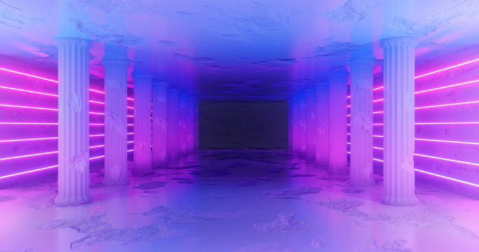 3d rendering. Marble corridor with damaged columns with blue and pink neon stripes along the walls. Neon glow.