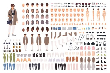 Woman photographer, animation kit or creation set. Bundle of body parts, clothes, accessories, photo camera. Female cartoon character. Front, side, back views. Flat colorful vector illustration. Fototapete