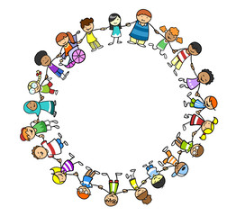 Multikulturelle Kinder als Gruppe im Kreis