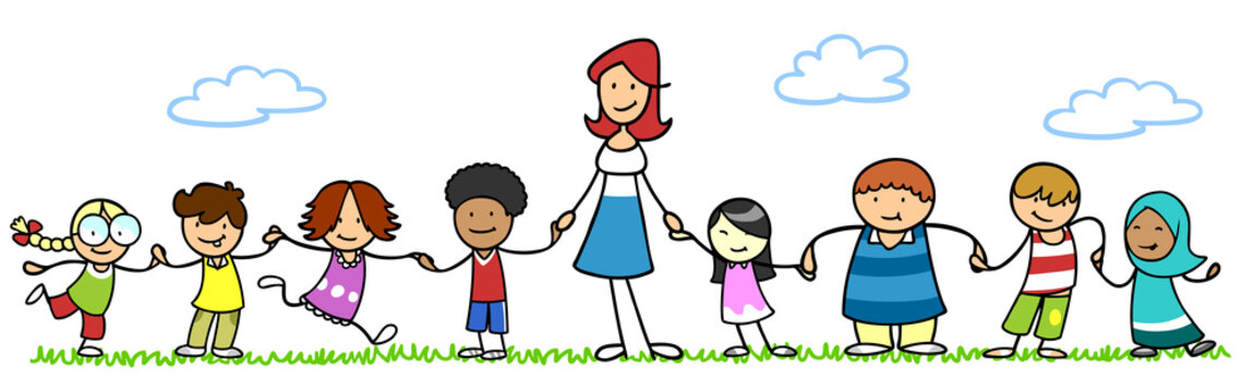 Erzieher im Kindergarten mit Gruppe Kinder
