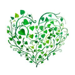 cuore fatto di piante e foglie verdi acquerello su sfondo bianco