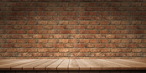 Closeup of colorful wooden platform and brick wall background, front view (High-resolution 3D CG rendering illustration)