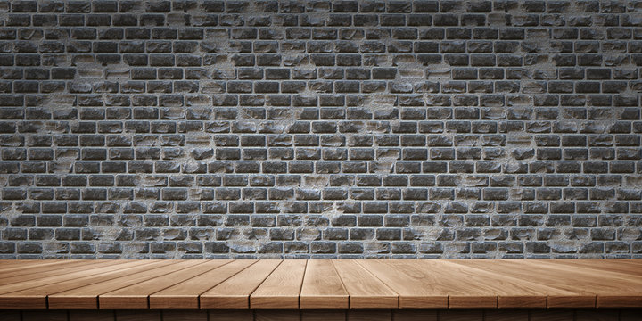 Colorful wooden platform background: brick wall.  ( 3D rendering computer digitally generated illustration.)