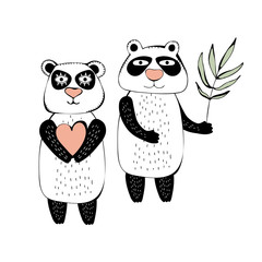 Panda in a cute children's style. Drawing hands. Loving couple. Happy Panda smiles and holds a heart and eucalyptus. Vector isolated illustration on a white background.