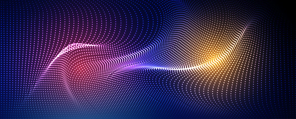 In de dag Abstract wave Abstract particle fractal background, hi-tech and big data background illustration