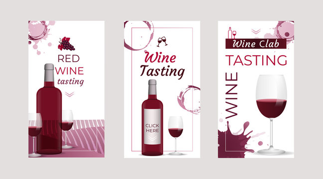 Wine Tasting invitation stories templates with wine bottles and wine glasses. Brochures, posters, invitation cards, promotion banners, menus. Wine stains background. Vector illustration.