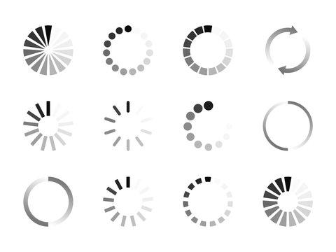 Super set different load icon. Circle website buffer loader or preloader. Download or upload status icon