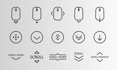 Scroll down icon. Scrolling mouse symbol for web design isolated on transparent background. Modern vector illustration