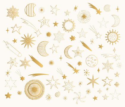 Set of doodle sun, planet, moon, comet and stars. Vector golden illustration.