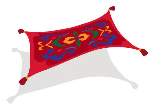 Carpet plane. Flying magic carpet on a white background. Vector illustration.