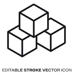 Building blocks vector line icon