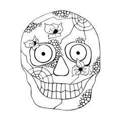 Vector hand drawn illustration of smiling skull with flowers, spider web, tooth, lines face of human Print horror for t shirt. Mexican style, day of the dead, halloween. Sketch, doodle drawing.
