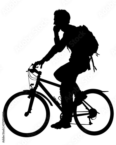 Wall mural Sport people whit bike on white background