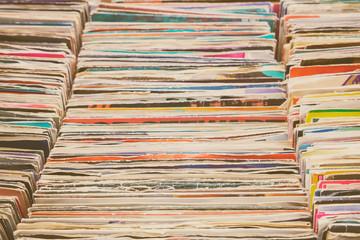 Vintage vinyl turntable records