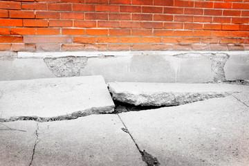 Broken Sidewalk Concrete Dangerous Cracked