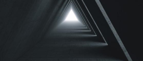 Empty Long Light Corridor. Modern concrete background. Futuristic Sci-Fi Triangle Tunnel. 3D Rendering