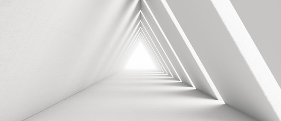 Empty Long Light Corridor. Modern white background. Futuristic Sci-Fi Triangle Tunnel. 3D Rendering Fotobehang