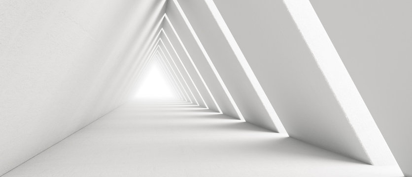 Empty Long Light Corridor. Modern white background. Futuristic Sci-Fi Triangle Tunnel. 3D Rendering
