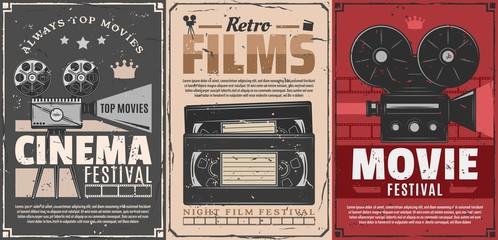 Cinema movie, film reel, projector, video tapes