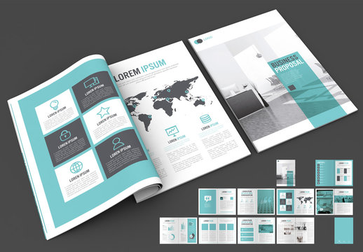 Business Proposal Layout with Blue and Grey Accents