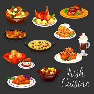 Irish cuisine meat stew and fish, coffee, dessert