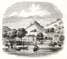 Ancient view of Clarens and Chatelard Castle in background canton of Vaud Switzerland. Little peaceful village with a castle on a hill and a river below. By Freeman, Magasin Pittoresque Paris 1848