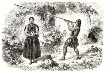 Couple of Colombian male and female indigenous in the nature and full body displayed. The male one is using a long blowgun. By Freeman and Piaud publ. on Magasin Pittoresque Paris 1848