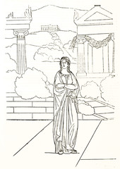 Electra (Sophocles greek tragedy character) over a hellenistic background drawed in a minimal contour line style. By Etex publ. on Magasin Pittoresque Paris 1848