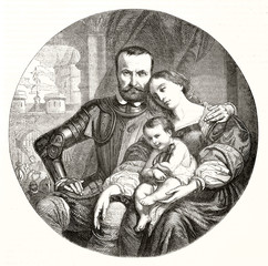 ancient authoritative knight posing with his wife and baby in a portrait arranged in a round frame. Painting titled Adieux (farewell). After H. Decaisne publ. on Magasin Pittoresque Paris 1848