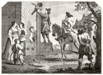 Ancient prisoner conducted to the pillory outddoor. Old illustration of a scene from Hudibras poem (prisoner Crodero conducted to the pillory). By Hogarth, Magasin Pittoresque Paris 1848