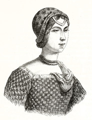 Ancient bust portrait of an elegant medieval noble woman drawn with a wonderful etching style. Laura de Noves (1310 - 1348) French noblewoman. By unidentified author, Magasin Pittoresque Paris 1848