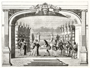 Ancient actors playing on stage the theatrical representation of Mirame tragedy written by Cardinal Richelieu. Illustration after La Belle publ. on Magasin Pittoresque Paris 1848