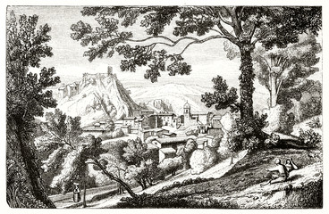 Zelfklevend Fotobehang Donkergrijs Ancient medieval mountain town inserted in a natural landscape with woods on foreground and hills on background. Old view of Olevano Romano Italy. By D'Aligny publ. on Magasin Pittoresque Paris 1848