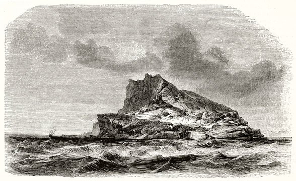 Single isolated little rocky island alone on the rough sea under a cloudy gray sky. ld view of Nolsoy isle (Faroe islands). By Girardet publ. on Magasin Pittoresque Paris 1848