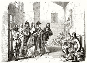 Ancient aristocratic men visiting the interior of a shabby prison and its poor chained prisoners. Old etching style 19th century illustration by Bosse publ. on Magasin Pittoresque Paris 1848