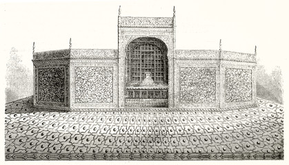 Old engraved reproduction of a marble screen full of ancient seamless style pattern decorations around cenotaphs in Taj Mahal Agra India. By Catenacci publ. on Magasin Pittoresque Paris 1848